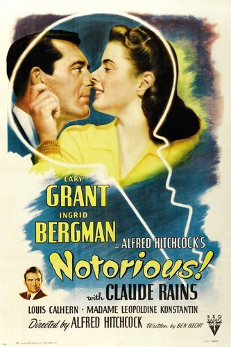 cary GRANT ingrid BERGMAN in HITCHCOCK'S NOTORIOUS movie poster LOVE 24X36 (reproduction, not an original)