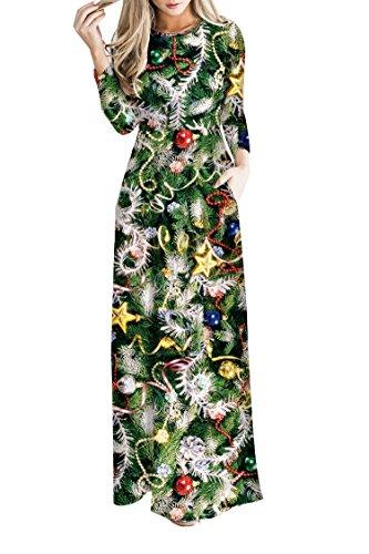 Pink-Queen-Womens-Long-Sleeve-Christmas-Dress-Digital-Printed-Maxi-Dresses