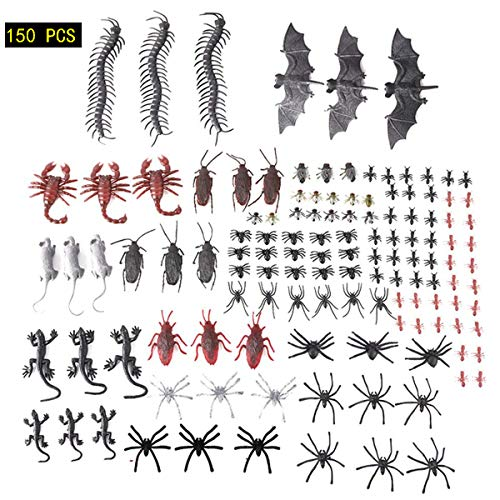 - 150 Count Plastic Toys Insects Realistic Fake Bugs Halloween Party Decor Favors Fake Plastic Spiders, Roaches, Scorpions,Rats, Geckos,Centipedes,Flies,Bats,Mouse