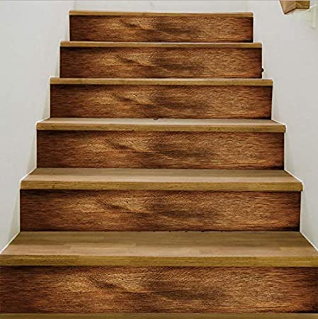 tonywu Ladrillo de Escalera de Grano de Madera 3D, decoración de Escalera Adhesivo extraíble Etiqueta de Pared de PVC Cartel de Pared Impermeable de Escalera de habitación: Amazon.es: Hogar