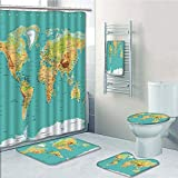 Bathroom 5 Piece Set Shower Curtain 3D Print Customized,Map,Map of The World Geography Continents and Countries Physical Cartography Image,Sea Green Apricot,Bath Mat,Bathroom Carpet Rug,Non-Slip,Bath