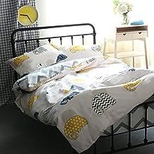 LELVA Cotton White Bedding Teen Elephant Print Duvet Cover Set Kids Bedding for Boys and Girls (Twin, Fitted Sheet Set)