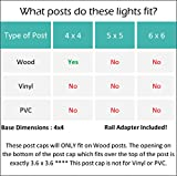 GreenLighting (8 Pack) Low Profile LED Solar Post Cap Lights for 4 x 4 Wood Posts (Black)