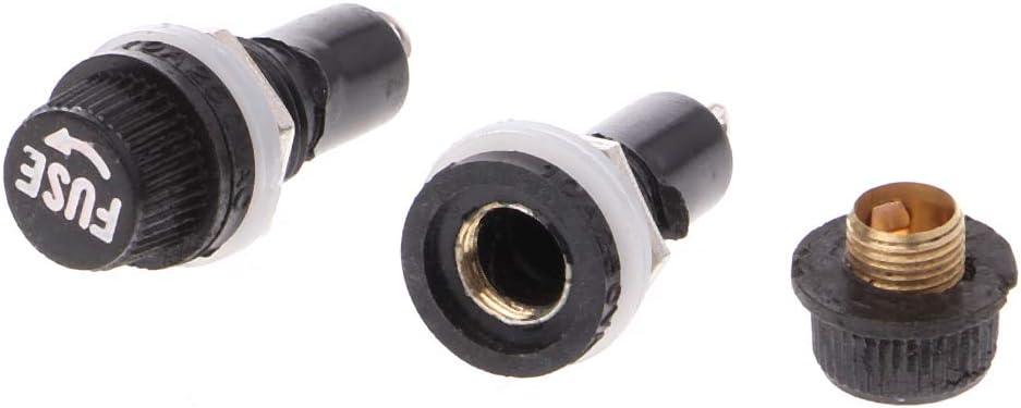 BIlinli 5 Pcs Support de fusible de ch/âssis de Panneau pour fusibles en Verre 5x20mm 10A 250V