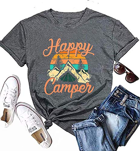 UNIQUEONE Happy Camper Shirt for Women Funny Cute Graphic Tee Short Sleeve Letter Print Casual Tee Shirts Gray]()