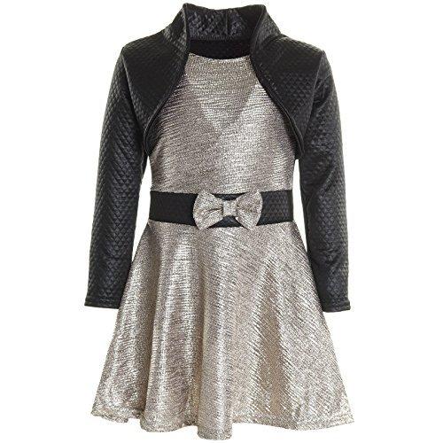 Mädchen Kinder Spitze Winter Kleid Peticoatkleid Festkleid Lang Arm Kostüm 20796, Farbe:Gold;Größe:116