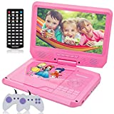 9.5 Inch Portable DVD Player for Car with Games Function for Kids, USB / SD Slot (Pink)
