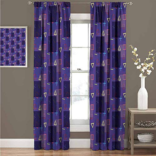 GUUVOR Hipster Wear-Resistant Color Curtain Memphis Style Geometrical and Colorful Shapes Mathematics Science School Theme Waterproof Fabric Curtain 72