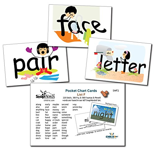 SnapWords List F Pocket Chart Cards - Sight Words