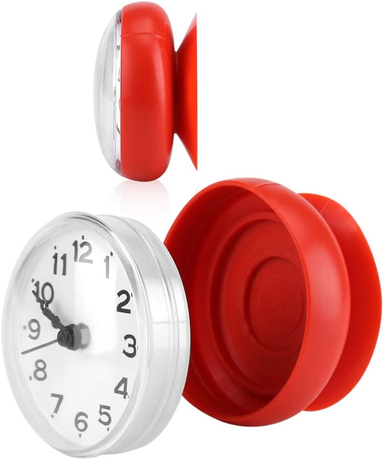Pomya Bathroom Clock, Suction Cup Wall Clock Waterproof Bath Shower Clock for Kitchen Bathroom (Red)