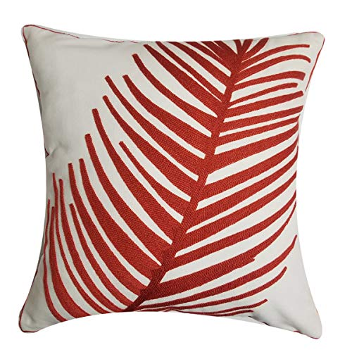 Orange Elephant Throw Pillow Cover Brilliantly Colored Decorative Geometric Embroidered Cotton Linen Blend Cushion Sham for Sofa, 18 x 18 Inch (Red Leaf)