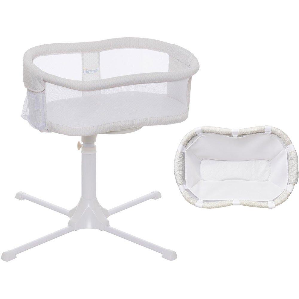 Halo Swivel Sleeper Bassinet - Essentia Series Honeycomb with Newborn Cuddle Insert - White Mesh