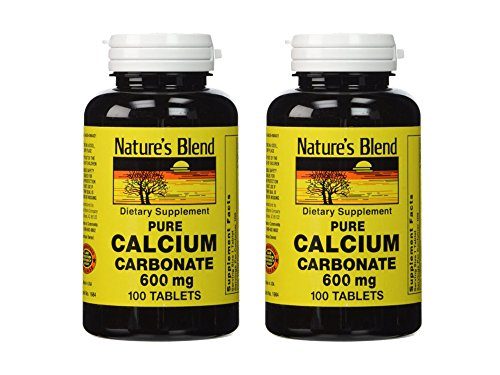 Set of 2 Nature's Blend Pure Calcium Carbonate 600 mg 100 Tabs bundled by Maven (600 Mg 100 Tabs)