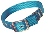 Hamilton Thick Nylon Deluxe Dog Collar, 1-Inch by 24-Inch Double, Teal