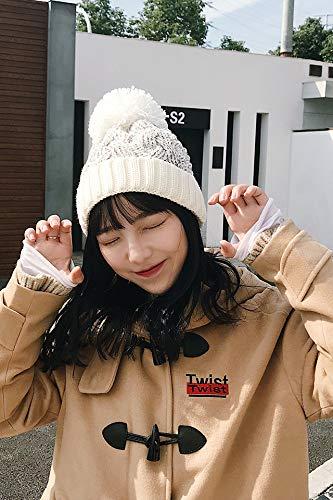 hat Cap Women Girls Autumn Winter Double Thick OVO Ball Wool Cap Month Gift Woman Thick Warm Knit Ear Men Man Light Gray