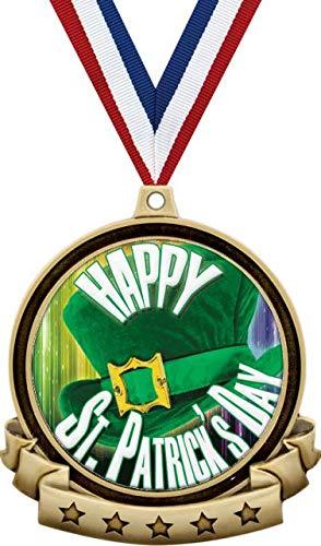 セントパトリックデーメダル 2.5インチ ゴールド ハッピーセントパトリックデー メダル賞 レッドホワイトとブルーのネックリボン付き 幸運のシャムロック賞 プライム B07MSK2KB3  100