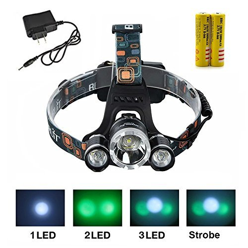 Veeki Green Color Shooting Headlamps Light Tactical 5000lm 3X Cree Xm-l T6 +2X Green R5 LED Head Headlight Torch Lamp Green Lights Headlamps for Hunting Night Fishing with 2 X 18650 Battery and Charger (GREEN) ¡­