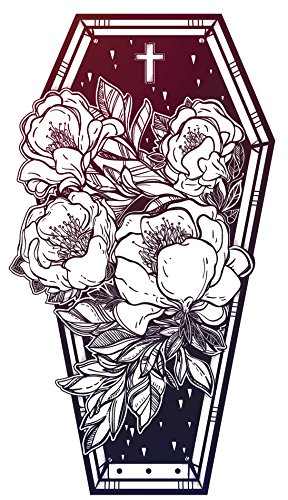 Cross Coffin - Poppy Flowers and Cross in Ombre Coffin Vinyl Decal Sticker (4
