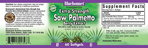 Bluebonnet Nutrition, Saw Palmetto 320mg, 60 Capsules