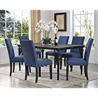 Roundhill Furniture T163-C162BU-C162BU-C162BU Biony 7-Piece 7 Espresso Wood Dining Set with Blue Fabric Nail Head Chairs