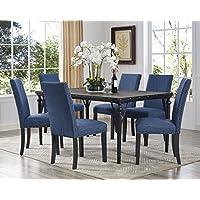 Roundhill Furniture T163-C162BU-C162BU-C162BU Biony 7-Piece 7 Espresso Wood Dining Set with Blue Fabric Nail Head Chairs