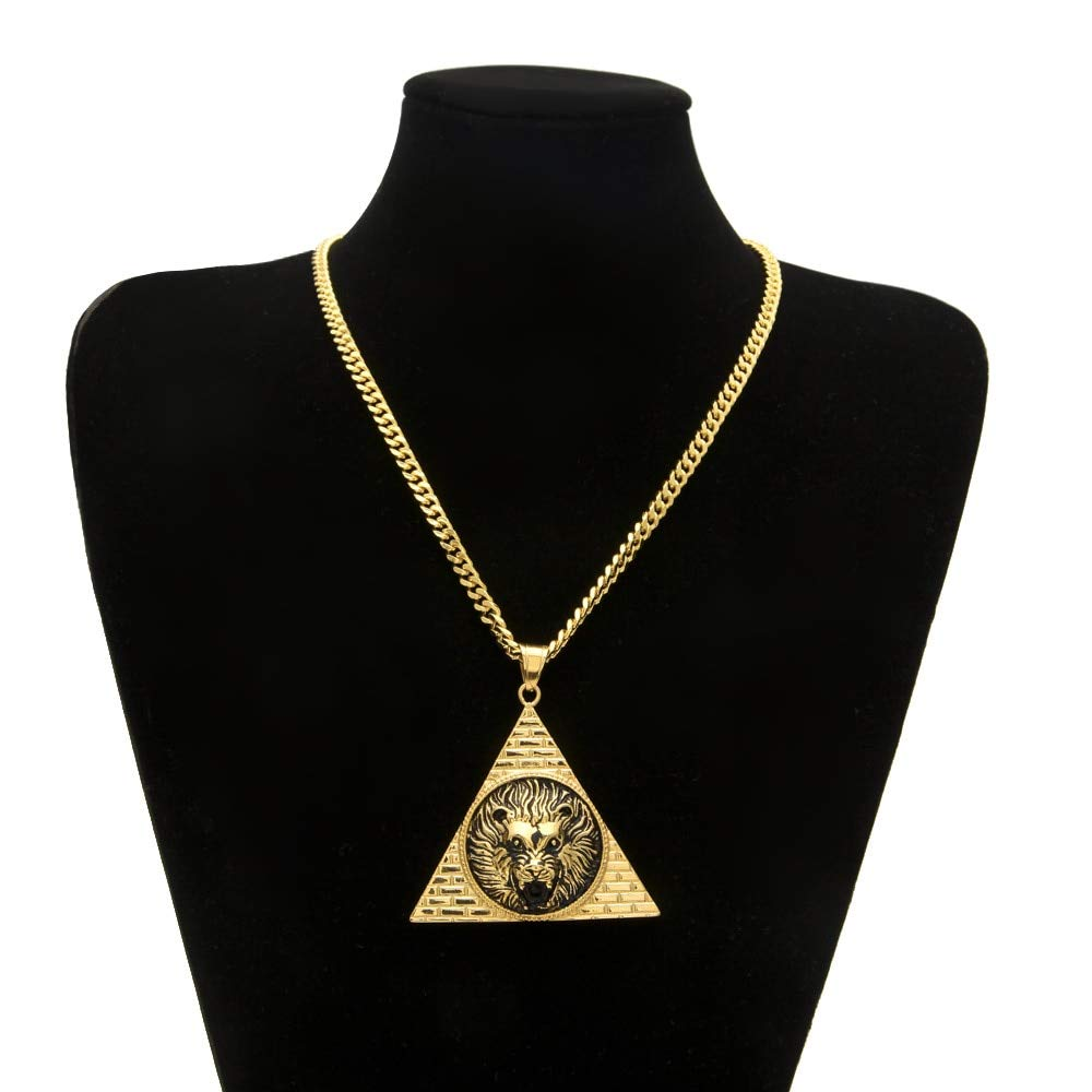 Davitu Stainless Steel Men Gold Color Triangle Lion Pendant Necklaces 70cm Long Cuban Link Chain Fashion Necklace Gifts Jewelry Metal Color: Gold-Color, Length: 70cm