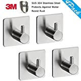 Adhesive Hooks, Heavy Duty Wall Hooks with 3M Self Adhesive SUS 304 Stainless Steel Brushed Nickel Waterproof Hooks for Coat Bathroom and Kitchen (4 Pack)