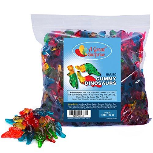 Haribo Gummy Dinosaurs - Haribo Gummi Candy, Bulk Candy Gummies 5 LB