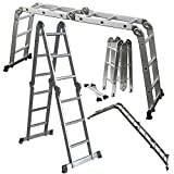 OxGord Aluminum Telescopic Ladder 3.8m Heavy Duty Commercial Grade - Extendible Work Light Weight Multi-Purpose System Steps for Library, Attic & or even Household Use Cleaning Windows Etc. - 330 LB Capacity - 2016 Newest Technology