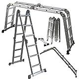 OxGord Aluminum Folding Scaffold Multi-Purpose Ladder 12.5-Feet / 350 lb
