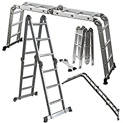 OxGord Aluminum Folding Scaffold Multi-Purpose Ladder 12.5-Feet / 350 lb