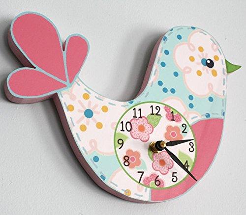 Love Bird Wooden WALL CLOCK for Girls Bedroom Baby Nursery