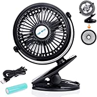 Rechargeable Battery Operated Fan Clip on Mini Desk Fan, Aurora 3 Speeds,Dismountable, Quiet , Idea for Office, Home, Baby Stroller Black (Black)