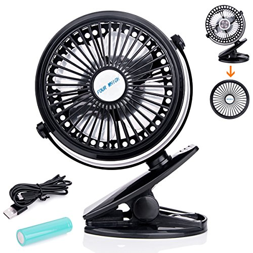 Rechargeable Battery Operated Fan Clip on Mini Desk Fan, Aurora 3 Speeds,Dismountable, Quiet , Idea for Office, Home, Baby Stroller Black (Black) (Clip Power On Fan Battery)