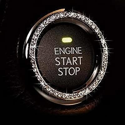 Bling Car Decor Crystal Rhinestone Car Bling Ring Emblem Sticker, Bling Car Accessories, Push to Start Button, Key Ignition & Knob Bling Ring, Car Glam Interior Accessory, Unique Women Gift (Silver): Automotive