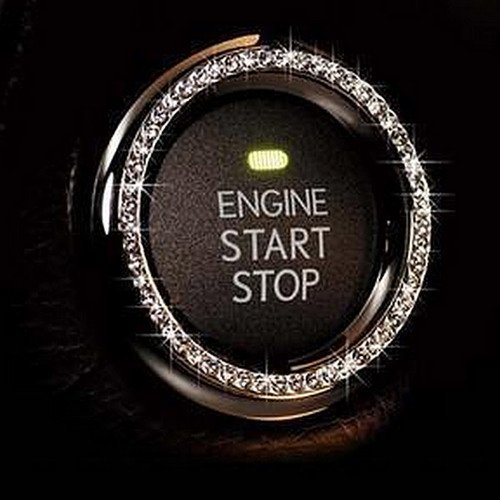 Bling Car Decor Crystal Rhinestone Car Bling Ring Emblem Sticker, Bling Car Accessories, Push to Start Button, Key Ignition & Knob Bling Ring, Car Glam Interior Accessory, Unique Women Gift (Silver)