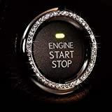 Bling Car Decor Crystal Rhinestone Car Bling Ring Emblem Sticker, Bling Car Accessories for Women, Push to Start Button, Key