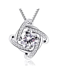 B.Catcher Necklaces Silver Windmill Pendant Cubic Zirconia Box Chain Necklace 45cm,18""