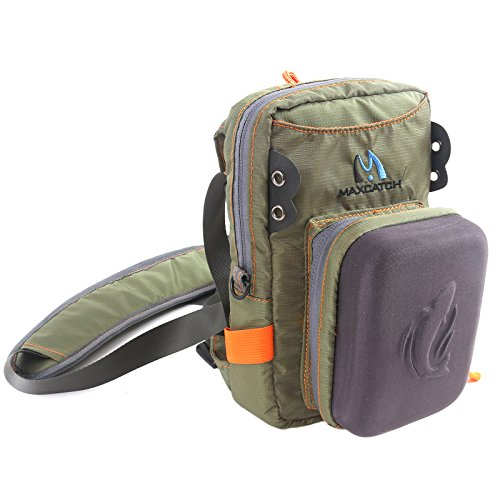 M MAXIMUMCATCH Maxcatch Fly Fishing Chest Bag Lightweight Chest Pack (Chest Pack Safe Guide with Molded Fly Bench)