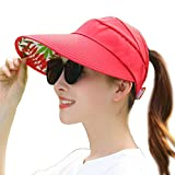 Mainstream Hat Female Summer Leisure Wild Tide UV Korean Spring and Summer Collapsible Sun Hat Sun Hat,Adjustable,Red
