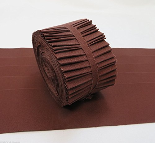 20 Strips Kona Cotton Brown 2.5-inch Pre Cut Quilting Strips Jelly Roll Fabric