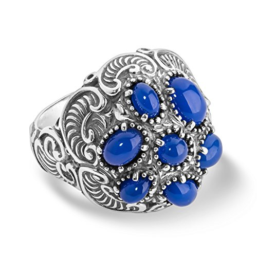 Carolyn Pollack Sterling silver & Blue Agate Cluster Ring