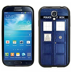 Samsung Galaxy S4 SIIII Black Rubber Silicone Case - Tardis Call Box Dr. Who Phone Booth