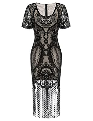 Locryz Women's Vintage1920S Lace Fringed Cocktail Flapper Dress