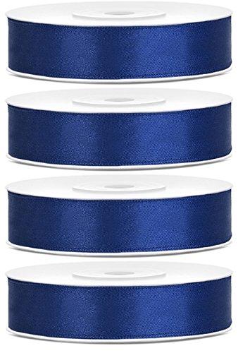 SiDeSo® SATINBAND 100m x 12mm (4x25m Rolle) viele Farben Hochzeit Dekoband Geschenkband Antennenband Schleifenband (pink)