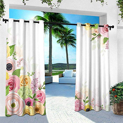 (UNOSEKS LANZON DIY Courtyard Garden Curtains, Anemone Flower Roses Ranunculus and Hydrangea Flowers and Green Leaves Frame Window Curtains Set 2 Panels (Light Pink Yellow Green, 84 x 84 Inches))