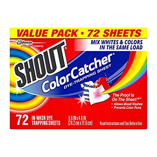 Shout Color Catcher Dye Trapping Sheets, 5 Pack 72 count EWBN by Shout