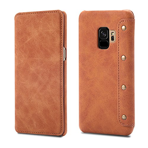 Magnetica Case Custodia Stand con pelle Galaxy Flip Samsung S9 Custodia in Cover Caso Bookstyle per Protettiva Plus Brown Pu Pelle S9 chiusa Cover S9 Galaxy PqwqOa