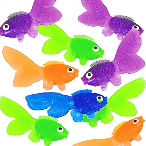 - 4E's Novelty Pack of 144 Cute and Happy Looking Little Vinyl Goldfish Party Favor, Carnival Game, Kids Craft, School Project, Summer Party's, Assorted Colors