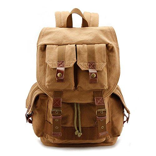 DRF Canvas Camera Backpack Unisex with Camera Case Insert Rain Cover BG-15 (Khaki)